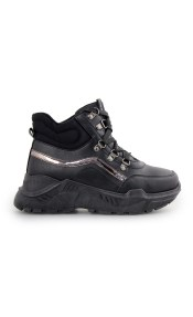 Γυναικεία sneakers με μεταλλιζέ λεπτομέρεια Μαύρο