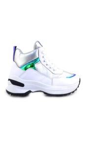 Γυναικεία sneakers με μεταλλιζέ λεπτομέρειες Λευκό/Ασημί