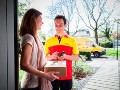 DHL delivery agent with package