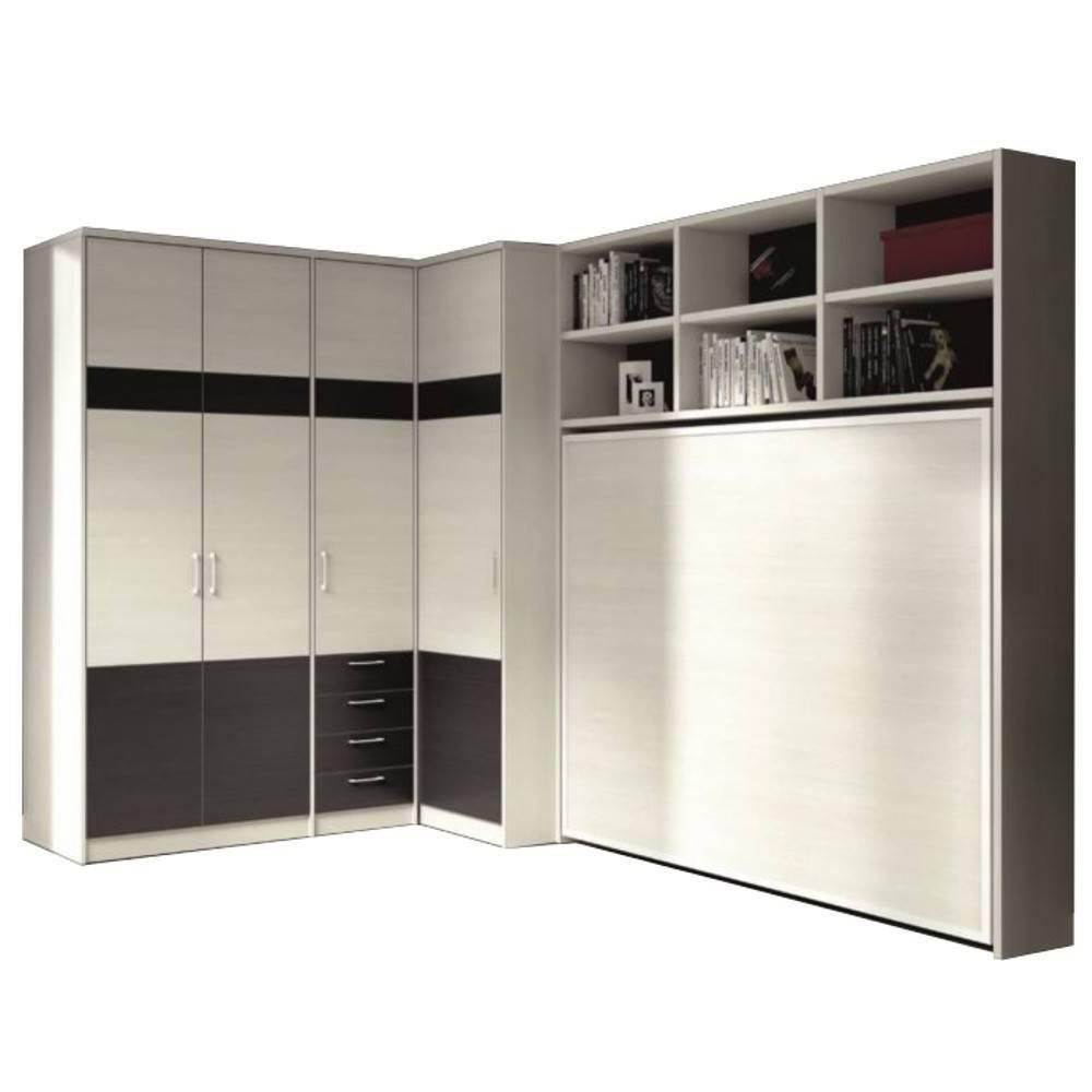 armoire lit escamotable athena avec dressing et rangements couchage 140 190cm