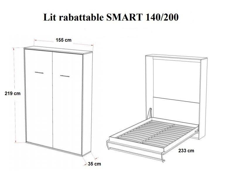 armoire lit escamotable smart v2 blanc mat couchage 140 200 cm