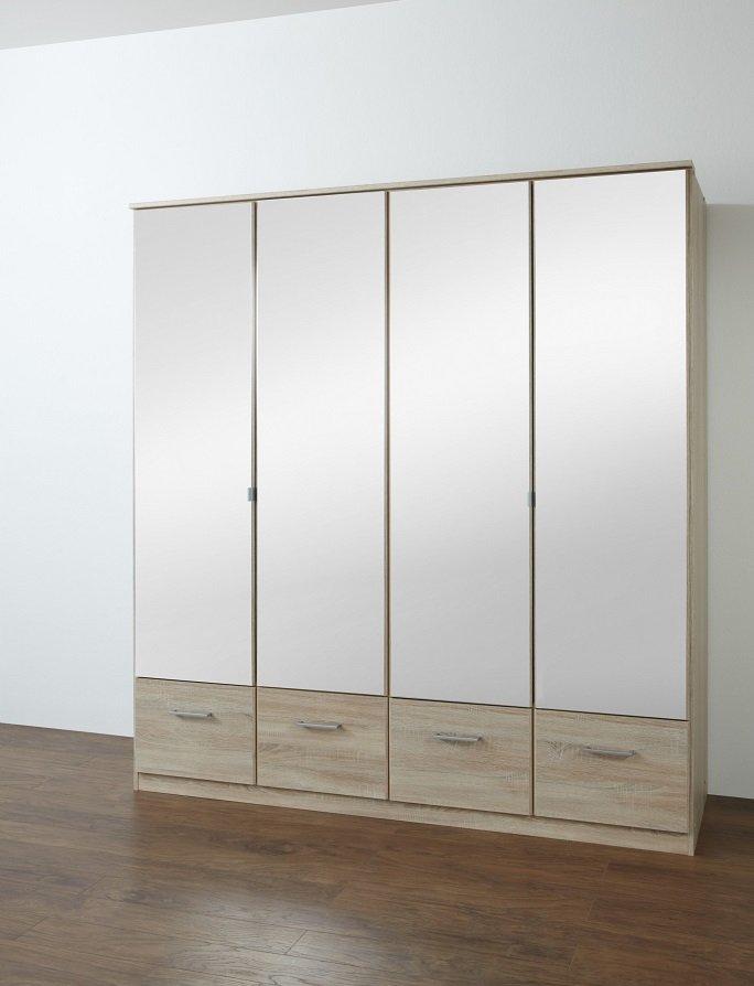armoire penderie dingle 4 portes miroirs 4 tiroirs largeur 179 chene