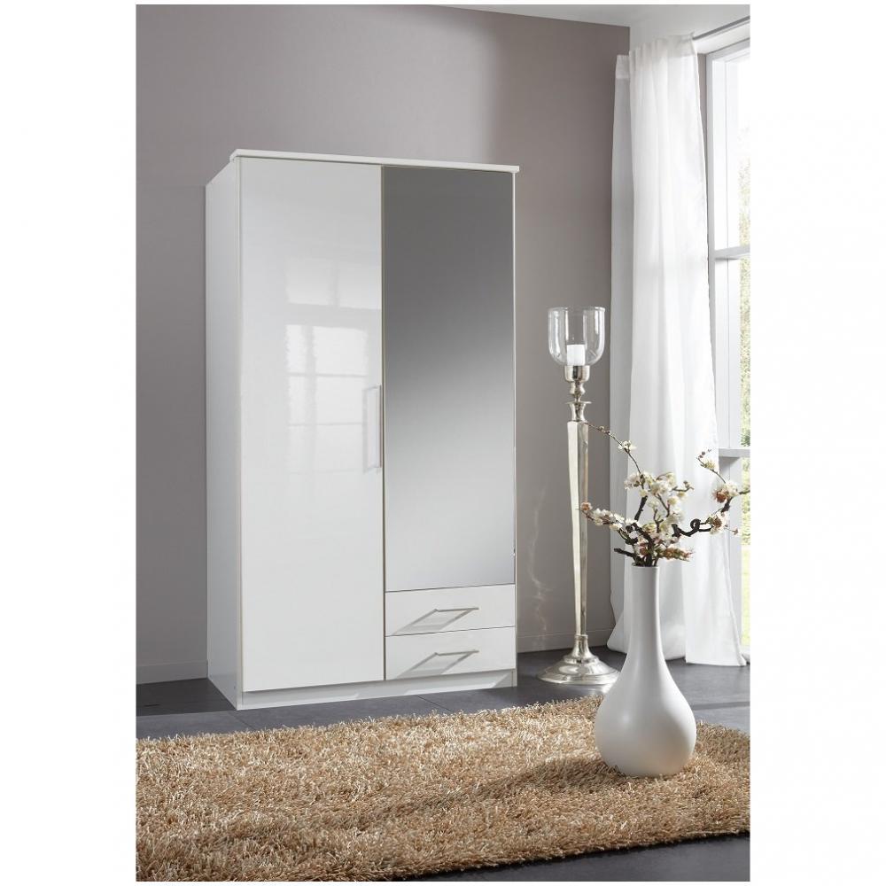 armoire de rangement gaby 1 porte 2 tiroirs laques blanc 1 porte miroir