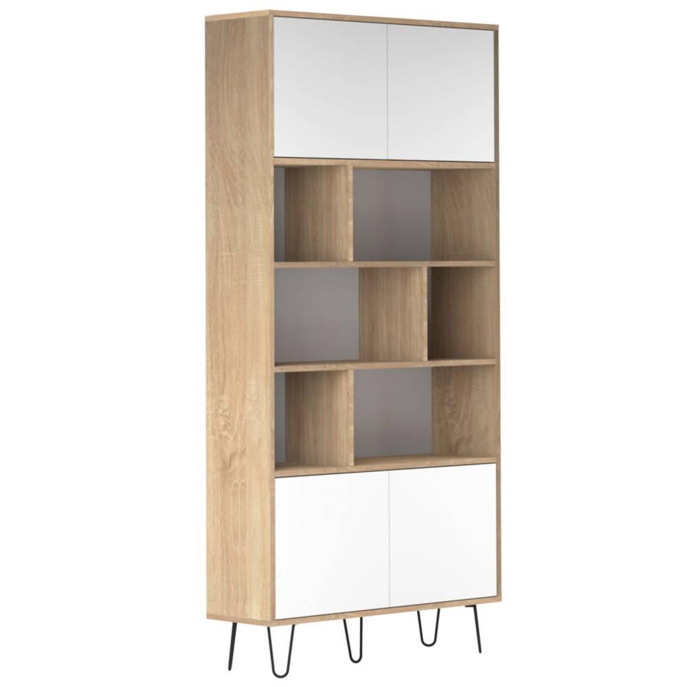 bibliotheque design scandinave lackberg 4 portes chene naturel