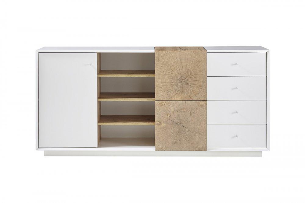 buffet haut markus 179 cm laque blanc mat et decor chene 2 portes 4 tiroirs 4 niches