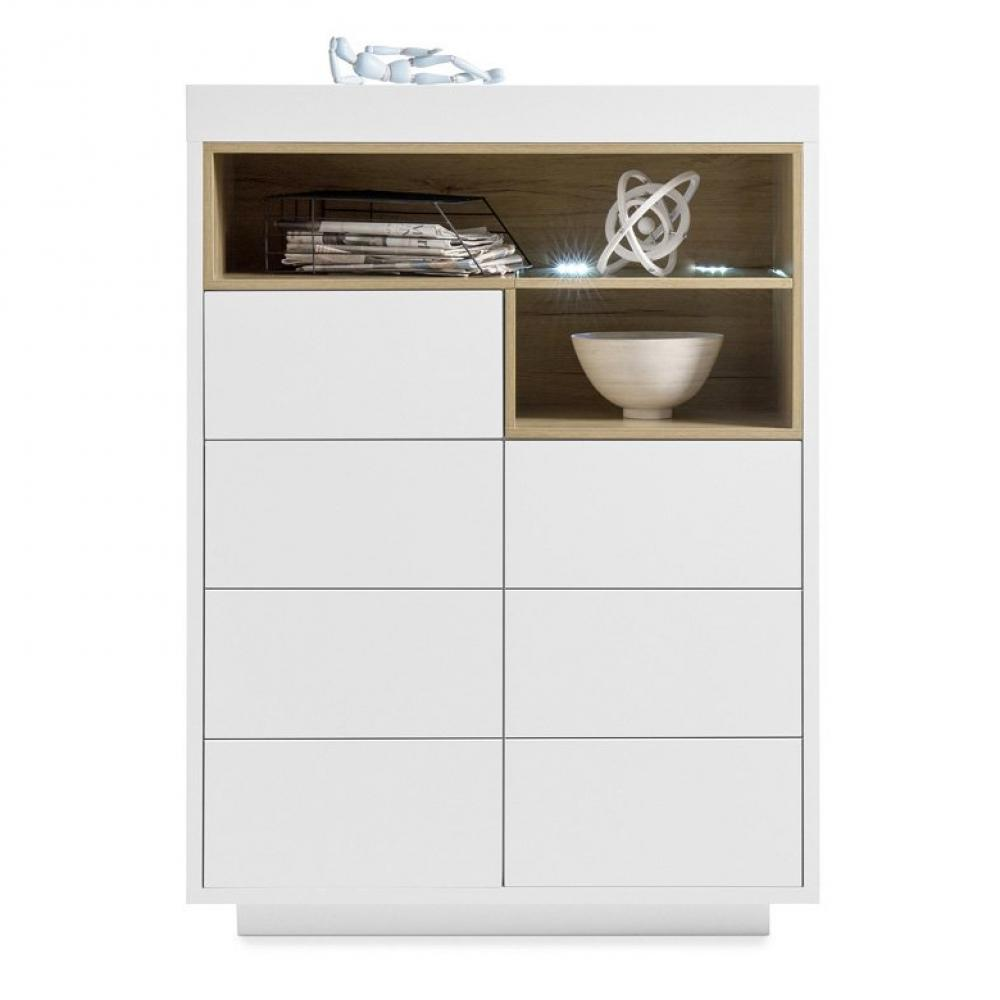 buffet haut cleo blanc laque mat 2 portes 1 tiroir 2 niches decor chene