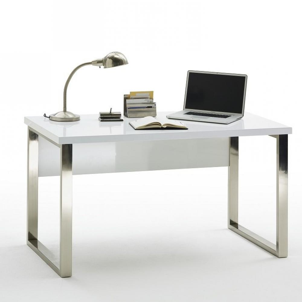 bureau altona laque blanc brillant pietement metal chrome