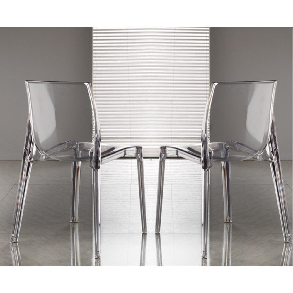 lot de 2 chaises falena empilables en polycarbonate transparent