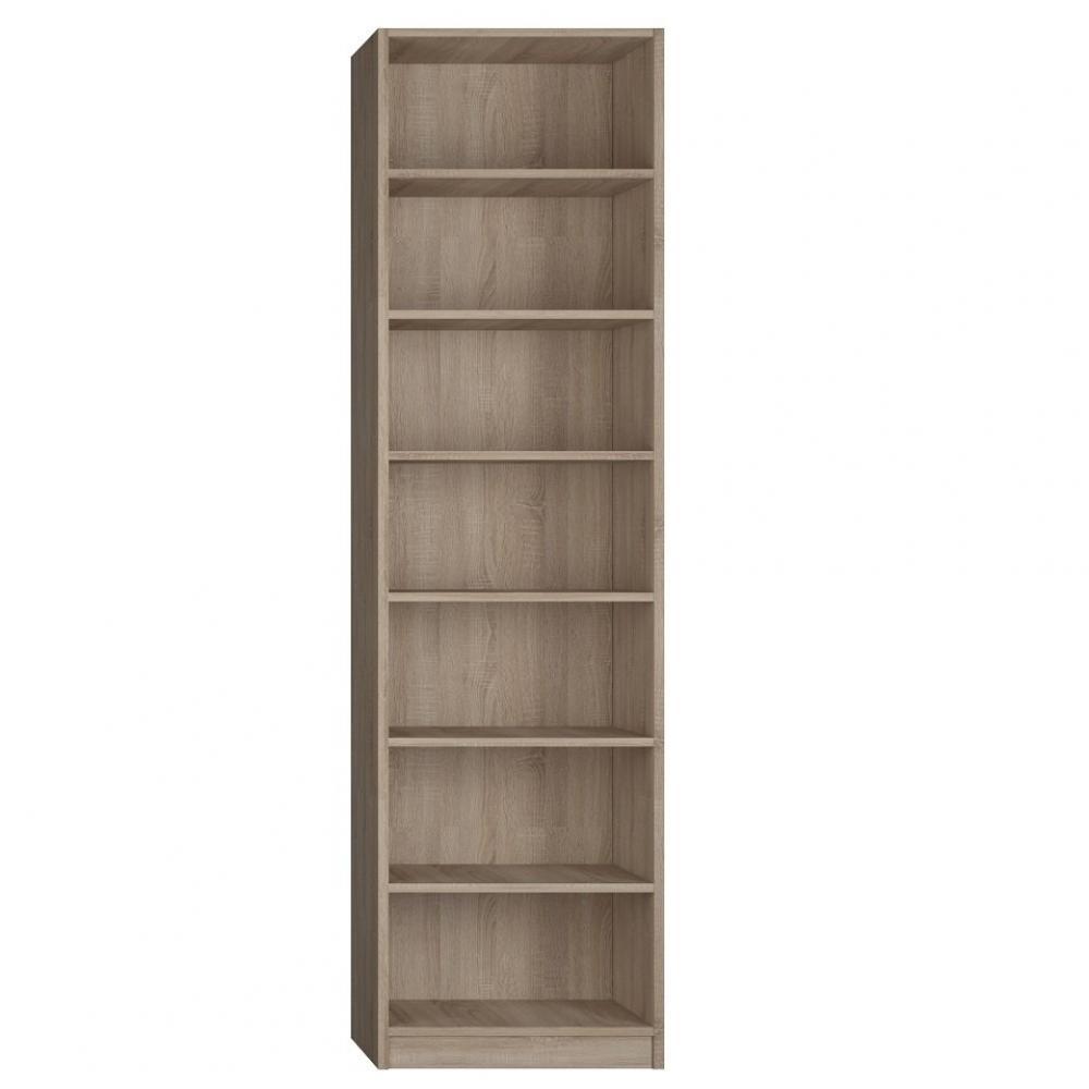 colonne bibliotheque 6 etageres finition chene naturel largeur 50 cm