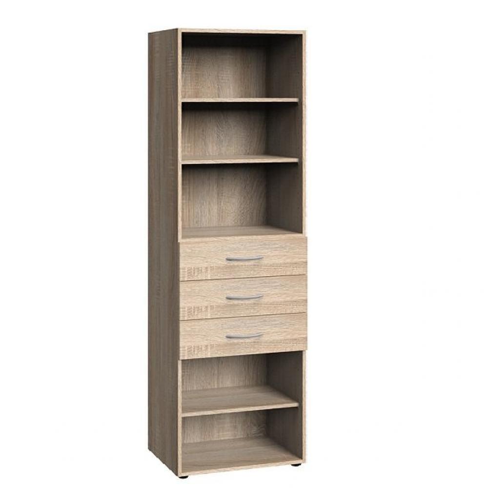 colonne de rangement lund 3 tiroirs chene naturel 45 x 40 cm profondeur