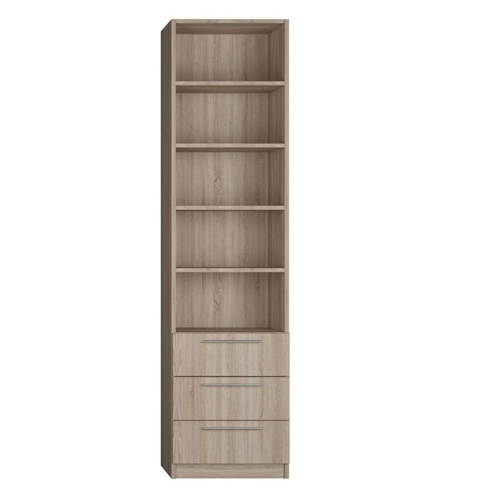 colonne de rangement bibliotheque 3 tiroirs finition chaªne naturel largeur 50 cm
