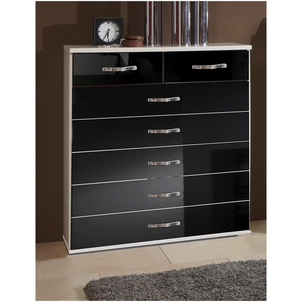 Chiffonniers Meubles Et Rangements Commode Kroos 7 Tiroirs Structure Blanc Facade Laquee Noir Brillant Inside75