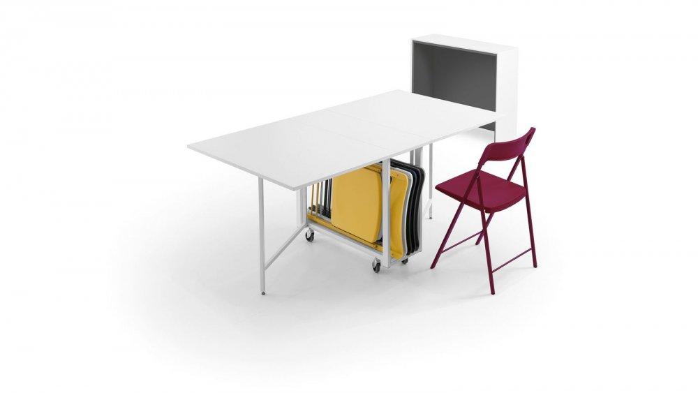 console extensible design balto avec tables depliables chaises integrees blanc mat structure blanc