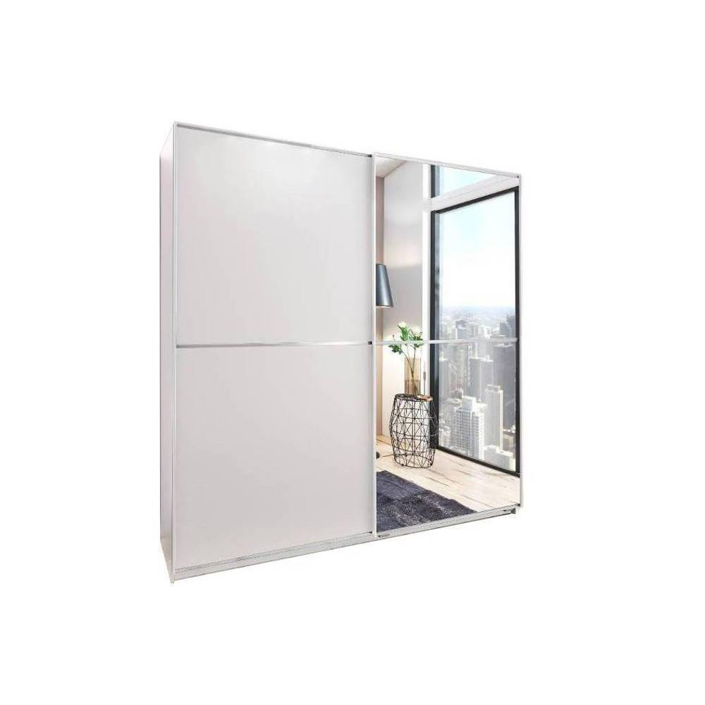 dressing coulissant hendrix 1 porte blanc mat 1 porte miroir l 179 cm