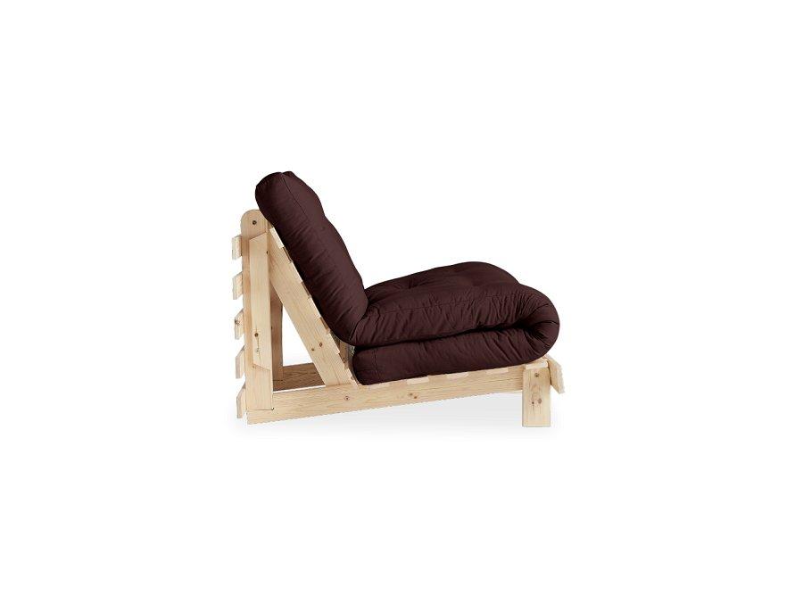 fauteuil convertible futon racines pin naturel coloris marron couchage 90 x 200 cm