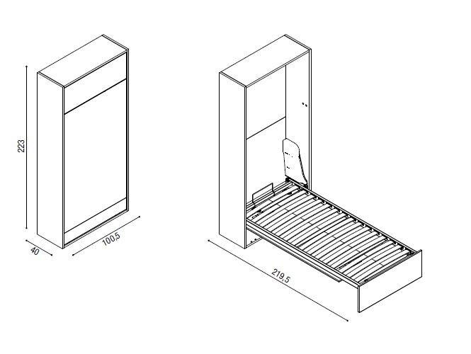 armoire lit escamotable a ouverture electrique elektra couchage 85 200 cm
