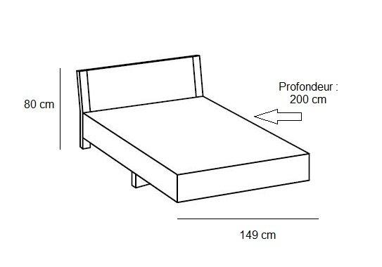 lit design eva couchage 140 x 190 cm chene blanchi rechampis graphite