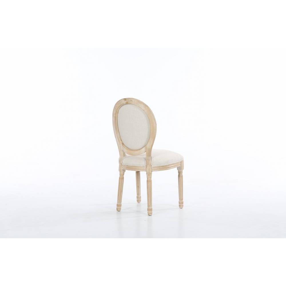 lot de 2 chaises medaillon versailles style louis xvi lin beige et chene clair vieilli