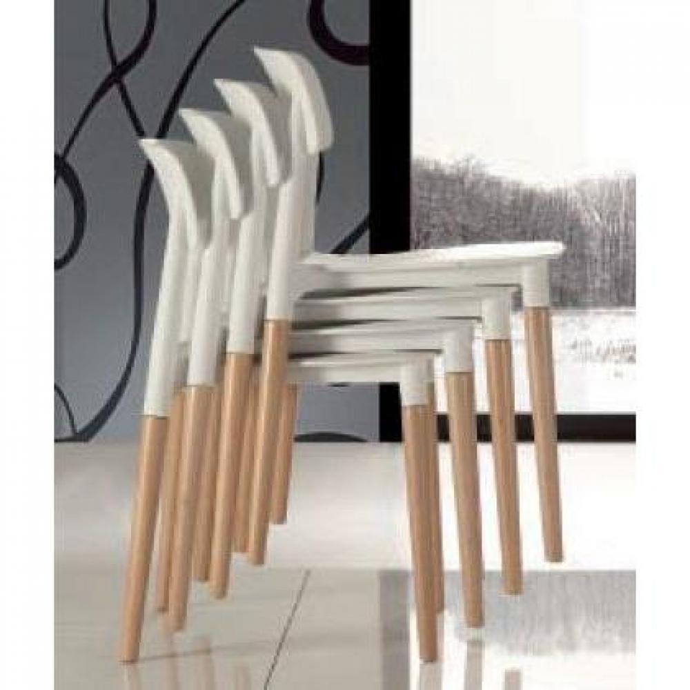 lot de 4 chaises artika empilables blanche et hetre massif