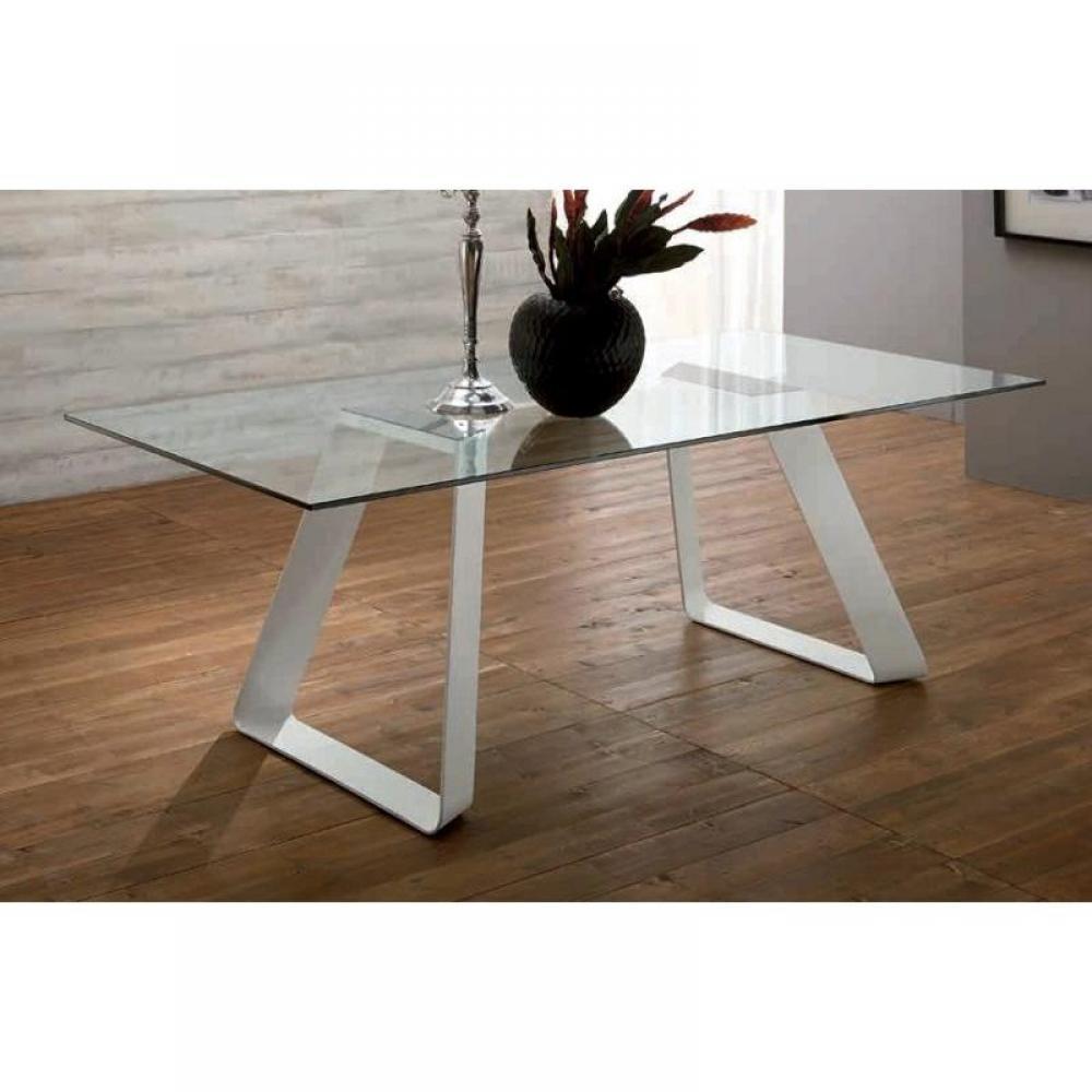 melodie ii table repas plateau en verre pietement blanc