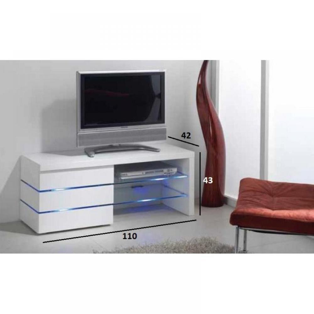 meuble tv leon blanc brillant