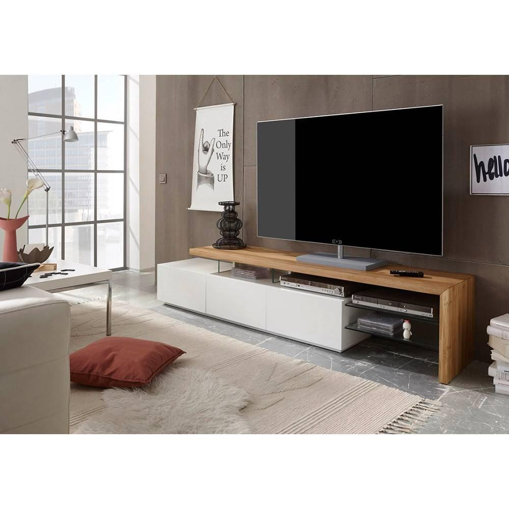 meuble tv design alrik 3 tiroirs structure laquee blanc mat plateau decor chene
