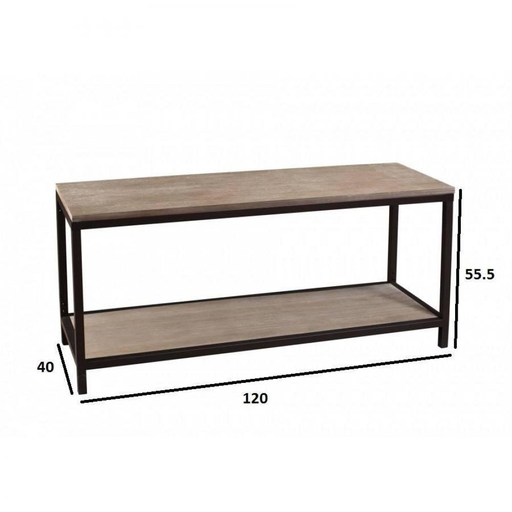 meuble tv industriel avec tablette lea en bois de paulownia et en metal