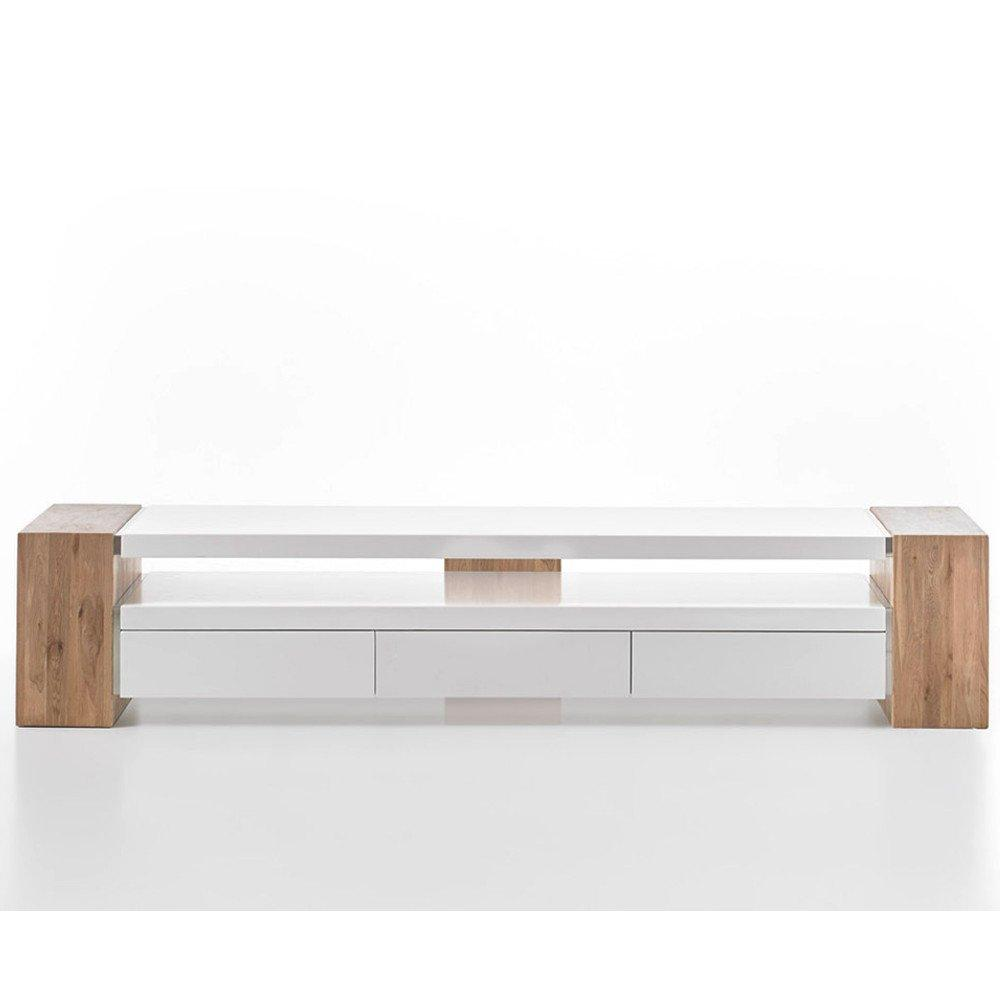 meuble tv design jule 3 tiroirs laque blanc mat et decor chene noueux