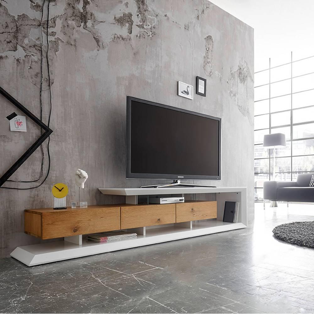 meuble tv design emerainville finition laquee blanc mat 3 tiroirs facade chene noueux