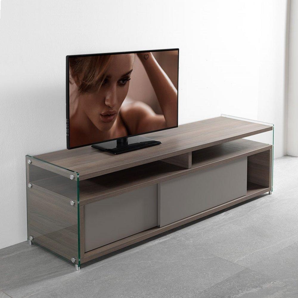meuble tv talac coloris noyer avec 2 portes coulissantes taupe