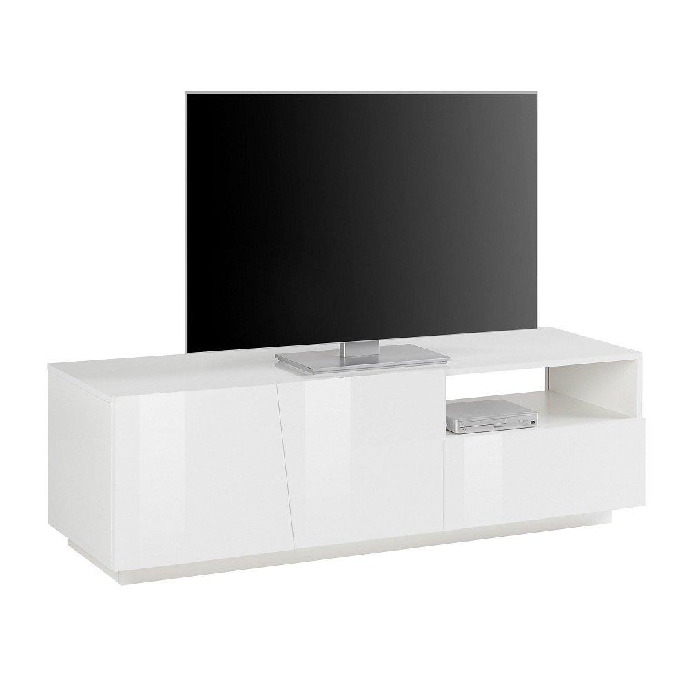 meuble tv design vega 150 cm laque blanc brillant 2 portes 1 tiroir 1 niche
