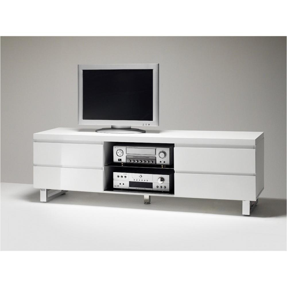 meuble tv altona blanc finition laque brillantte 4 tiroirs 1 niche