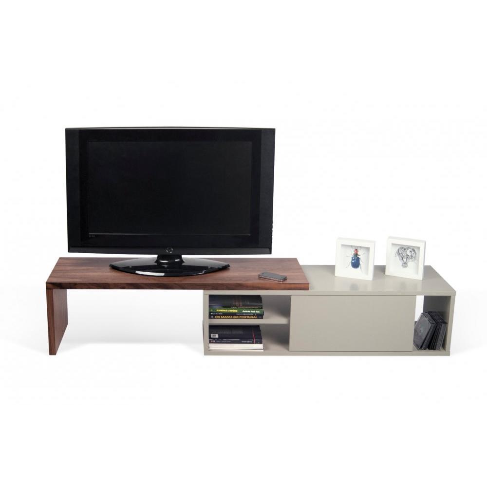 move meuble tv modulable noyer et gris avec1 porte coulissante