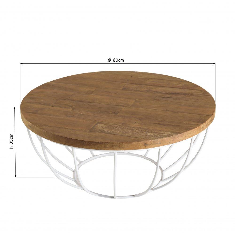 table basse scandinave ronde en bois finition teck recycle pied blanc