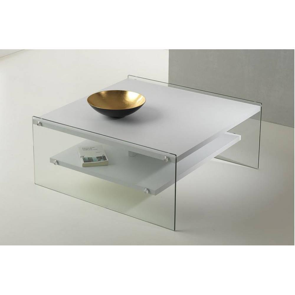 table basse bella 2 plateaux blanc mat pietement en verre