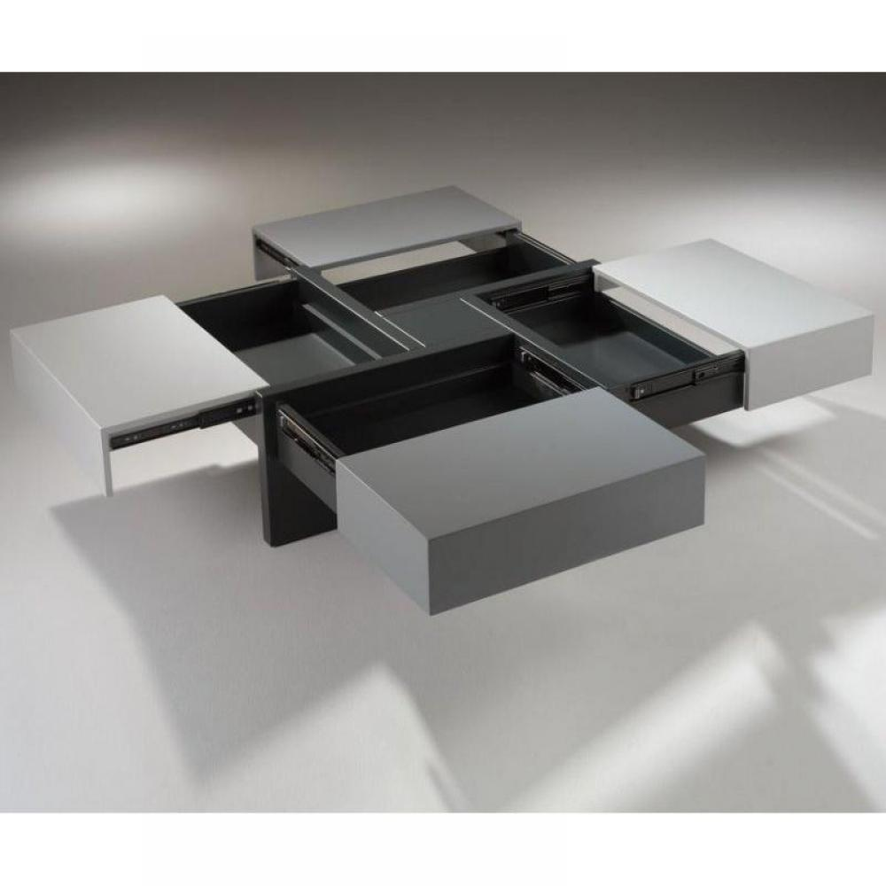 Table Basse Design Molly Grise Avec Tiroirs Coulissants