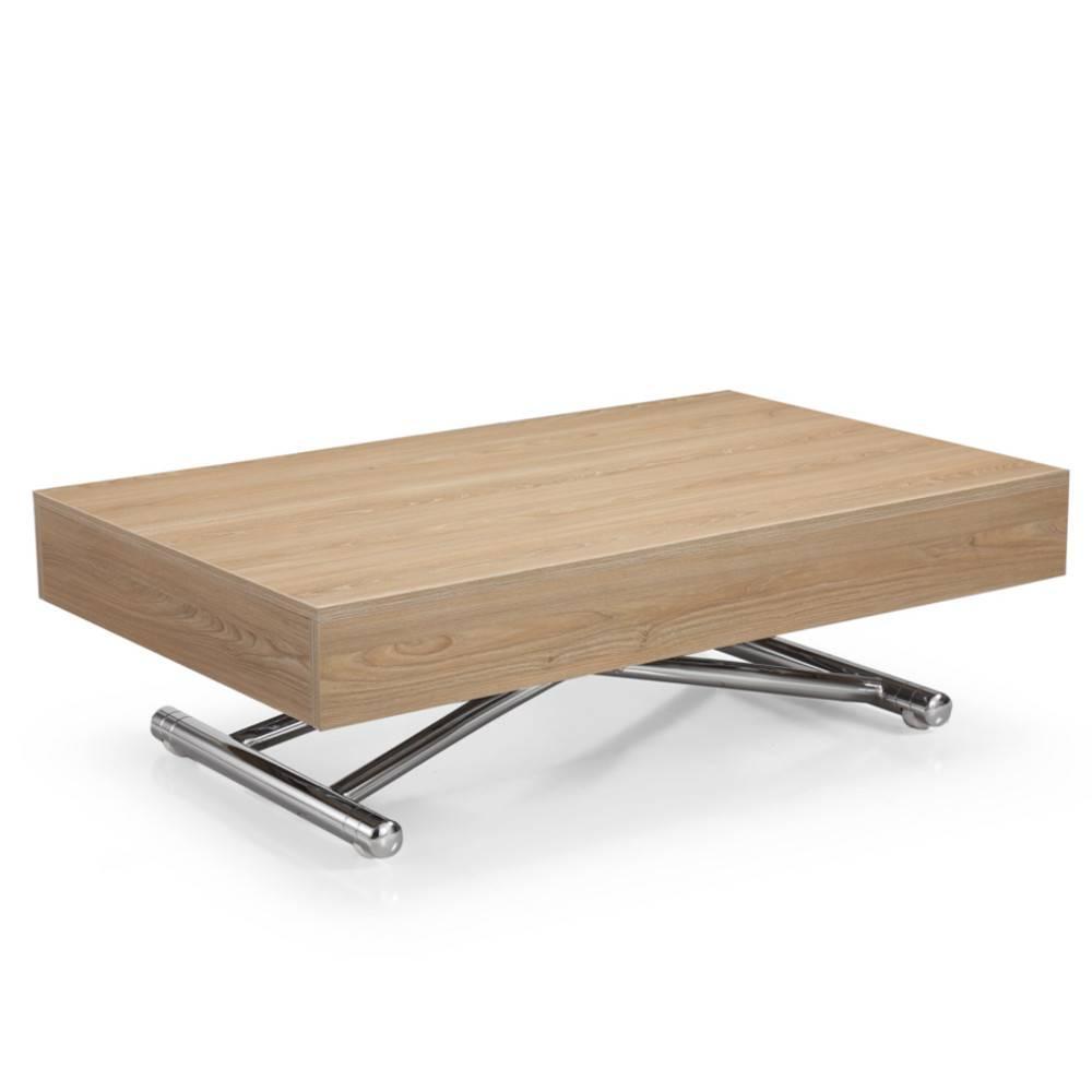 table basse relevable cube chene clair extensible 10 couverts pietement chrome