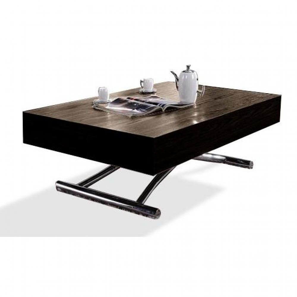table basse relevable cube wenge extensible 10 couverts pietement chrome