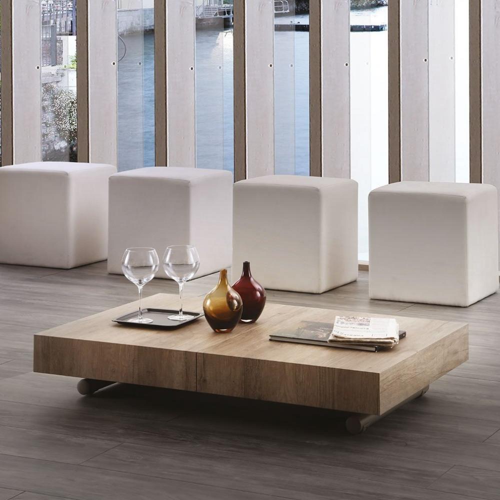 table basse relevable extensible block design rouvre noue pietement taupe 80 x 120 cm