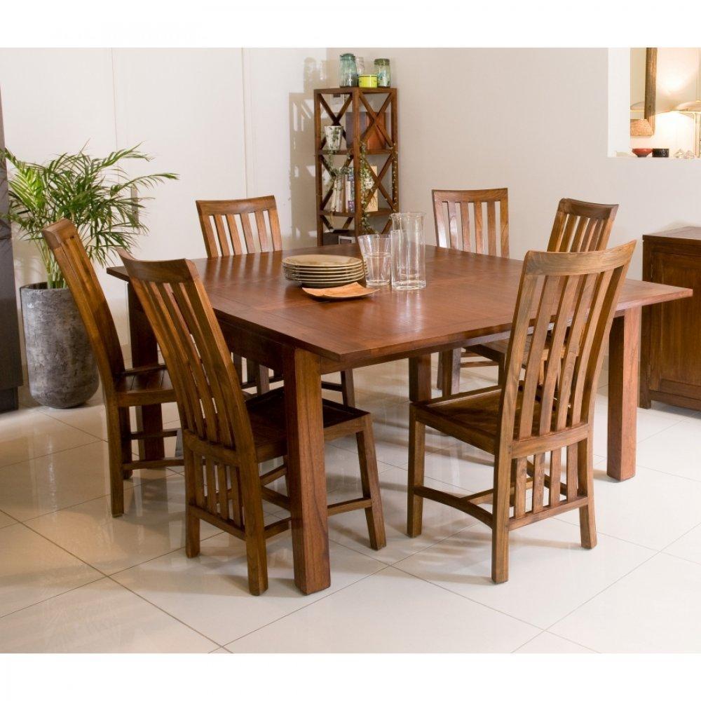 table repas extensible lauren 140 x 140 cm en mindi