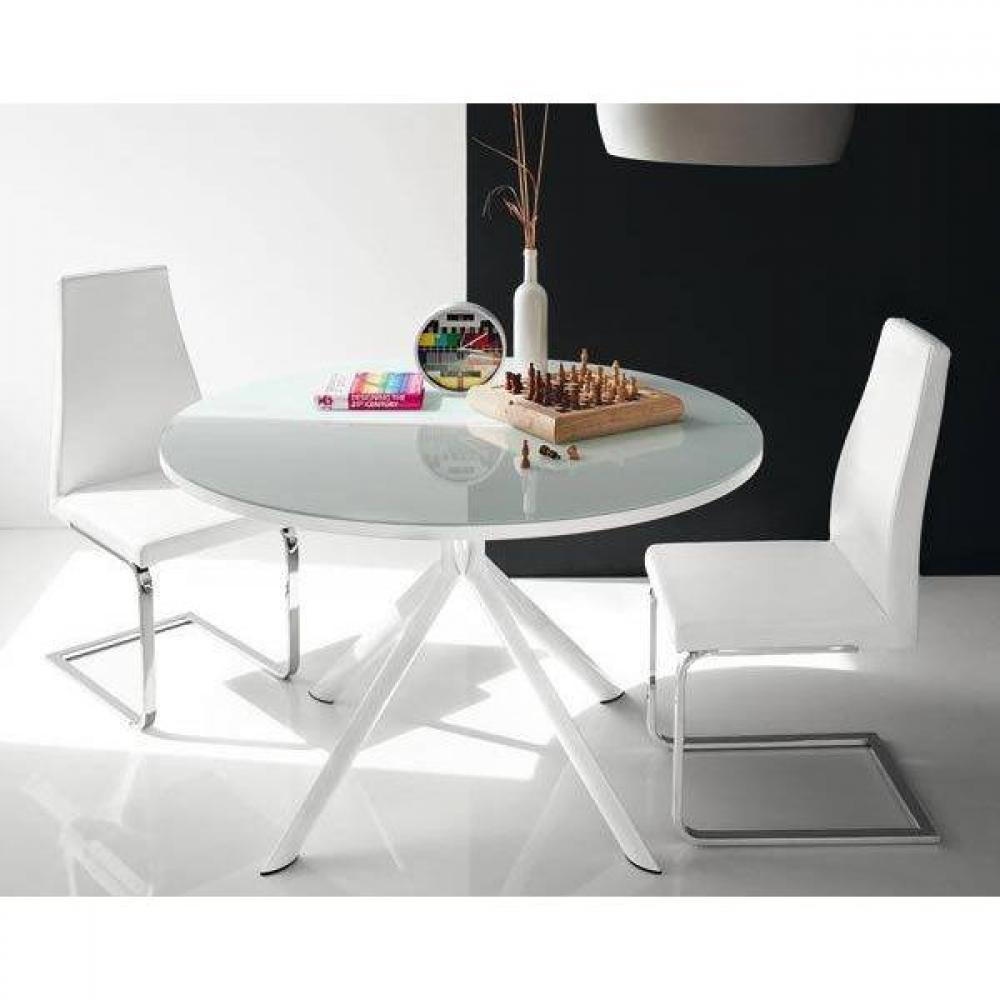 table de repas extensible ronde tulipe quattro 120cm en verre serigraphie blanc