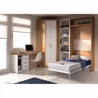 armoire lit escamotable atlas avec bureau et rangements couchage 90 190cm