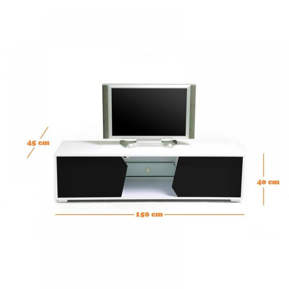 Meuble tv blanc laqu fly buffet melan x cm kavehome with for Meuble tv fly