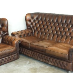 High Back Chesterfield Sofa Bed Corner Chaise Brown Leather Highback 3 Seat And Chair Inside Out