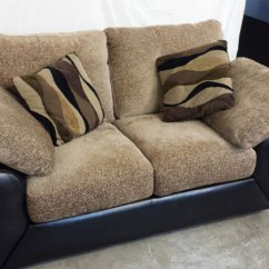Leather And Chenille Sofa Moving Problem Black 2 Seater Inside Out