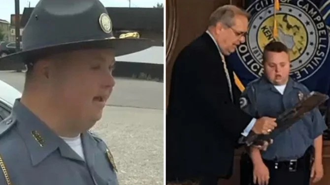 Man With Down Syndrome Sworn In As Honorary Police Officer Days Before His Birthday Inside