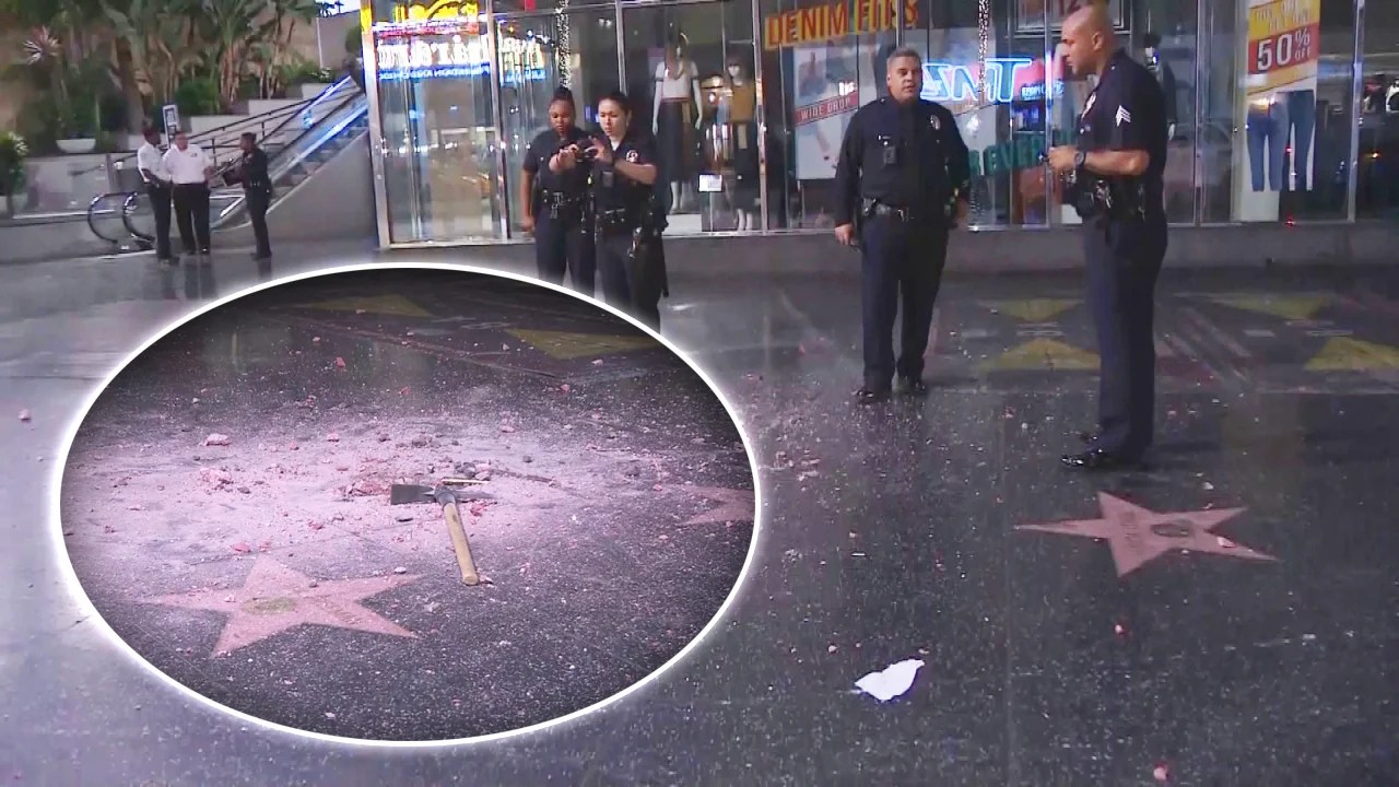 Donald Trump S Hollywood Walk Of Fame Star Destroyed With Pickaxe Inside Edition