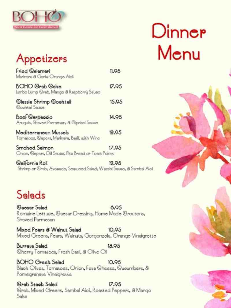 Menu for Boho World Cuisine 2861 E Commercial Blvd Fort