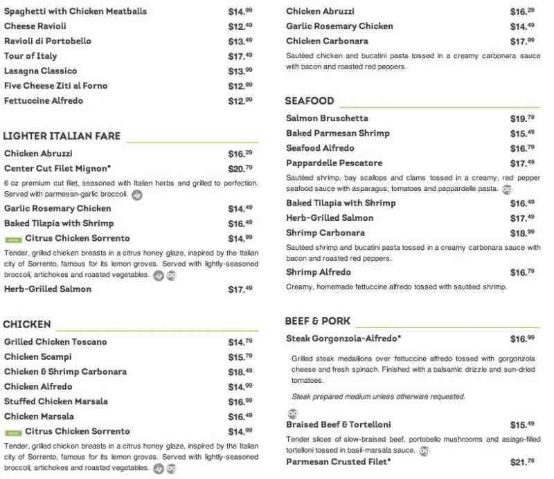 Catering Olive Garden Menu