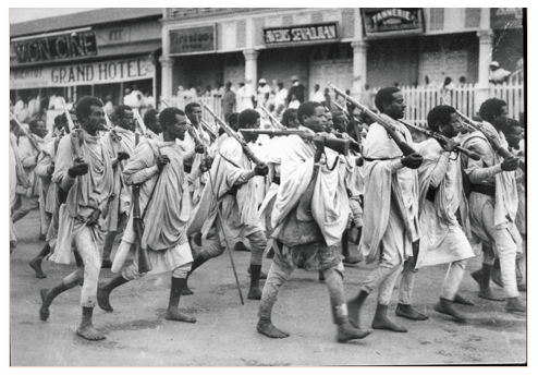 Ethiopian infantry marching in the streets of Addis Ababa, October 1935